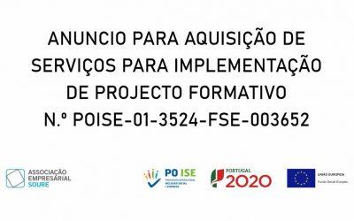 Concurso público aquisição de serviços para implementação de projeto formativo