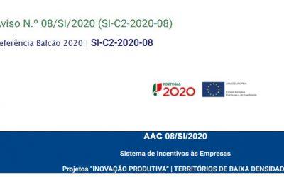 """Projetos """"INOVAÇÃO PRODUTIVA"""" – TERRITÓRIOS DE BAIXA DENSIDADE – AVISO 08/SI/2020"""